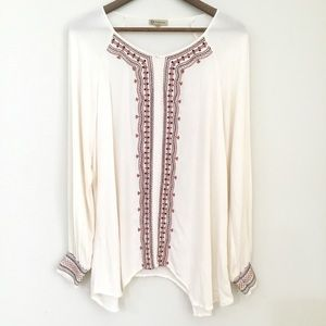 Boho tunic by Democracy cream/brown size Large